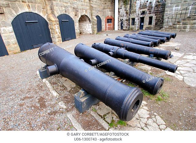 old cannons at Citadel Hill fort defence complex at Halifax Nova Scotia