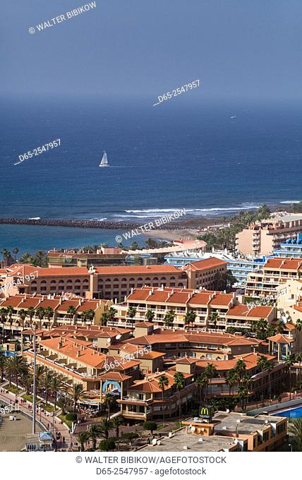 Spain, Canary Islands, Tenerife, Playa de Las Americas, elevated view from Los Cristianos