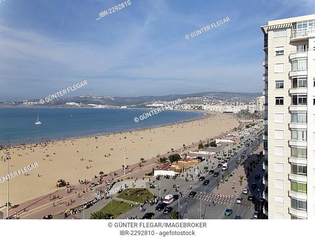 Mohammed VI Avenue and city beach of Tangier-Assilah, Tangier-Tetouan, Morocco, North Africa, Maghreb, Africa