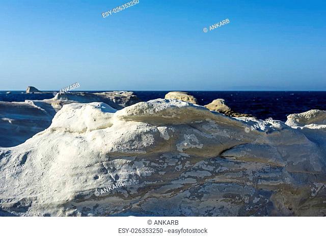 White Rock formation near the sea of Sarakiniko area at Milos island, Greece