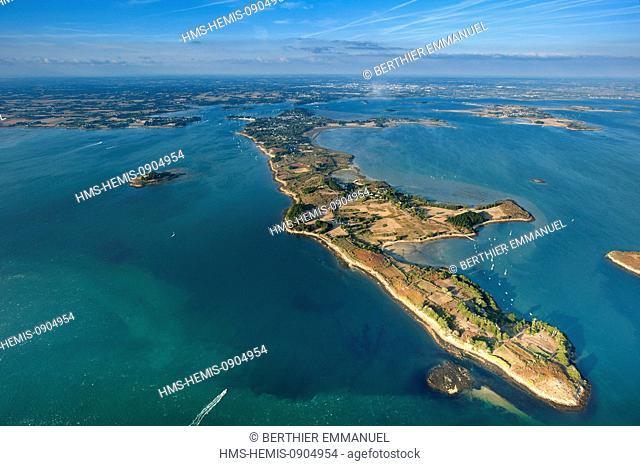France, Morbihan, Golfe du Morbihan, Boedic island aerial view ...