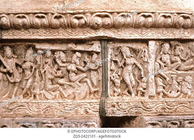 Mahakut mahakutesvara temple, circa 635 AD. General scenes on base frieze