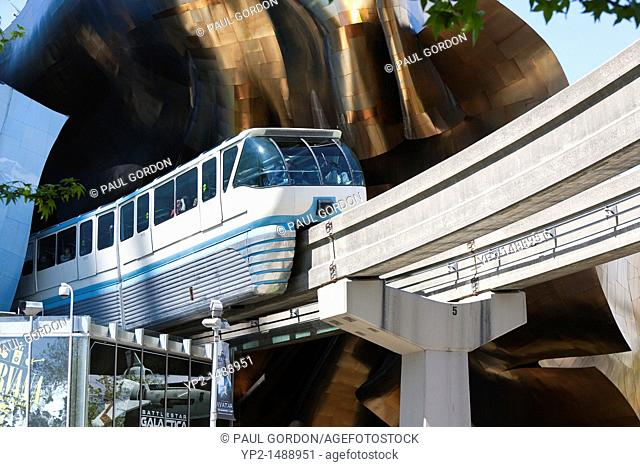 Seattle Center Monorail exiting Seattle Center Station - Seattle, Washington, series 2 of 3