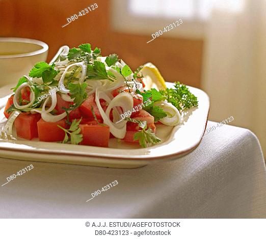 Parsley, tomatoe and mint salad