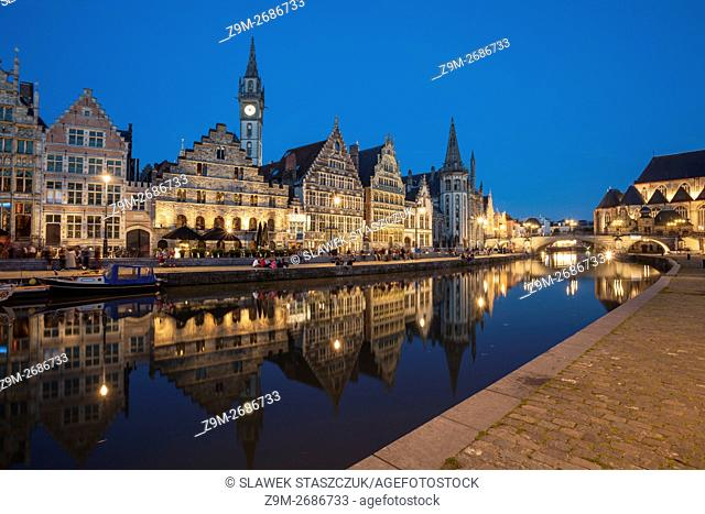 Night falls on river Leie in Ghent old town, Belgium