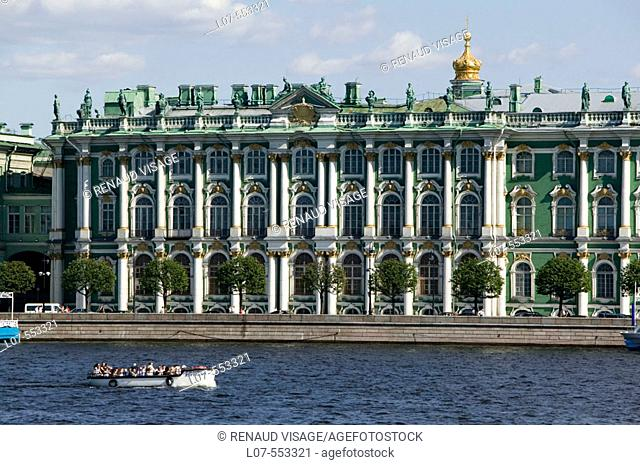 Tour boat in front of the Hermitage Museum. St Petersburg. Russia