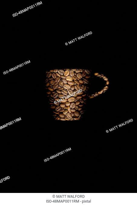 Coffee beans in shape of mug