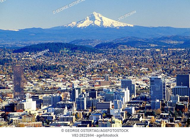 Downtown view with Mt Hood from Pittock Mansion, Portland, Oregon