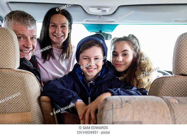 Portrait happy family in motor home