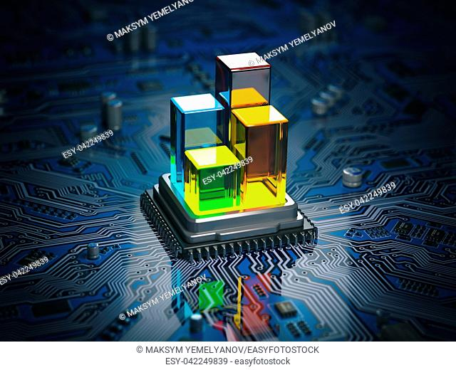 CPU processor with graph and diagram on the circuit board motherboard. Compare of speed level and cooling of CPU information technology concept