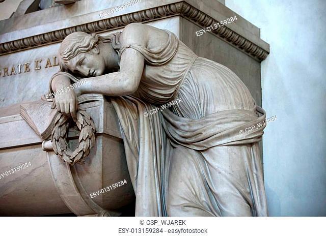 Florence - Santa Croce.Tomb of Dante Alighieri