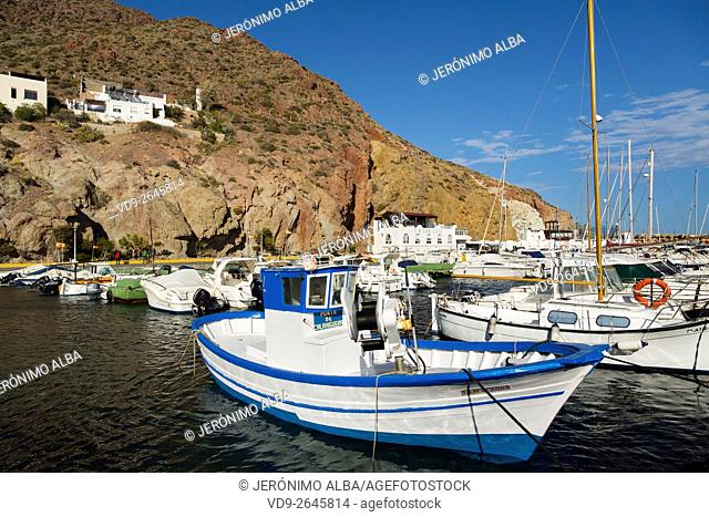 Marina and fishing port. San José Cabo de Gata Nijar, Natural Park Biosphere Reserve. Almeria province, Andalusia, Spain Europe