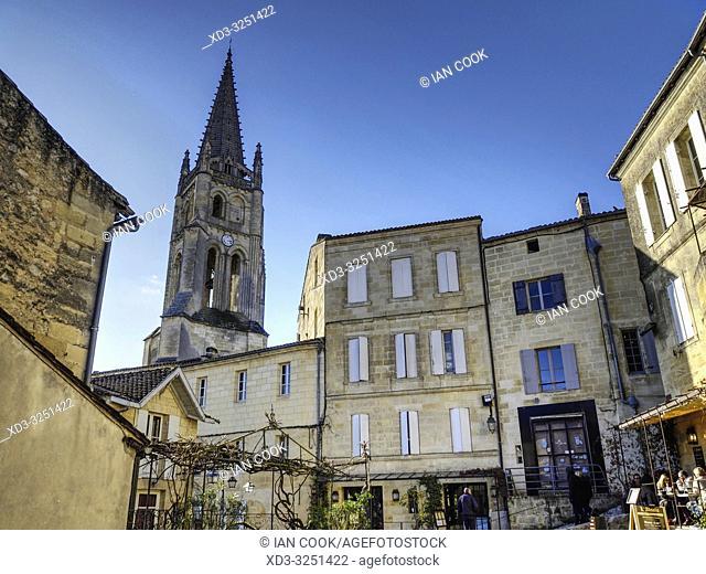 Monolithic Church and Place du Marche au Bois, Saint Emilion, Gironde Department, New Aquitaine, France