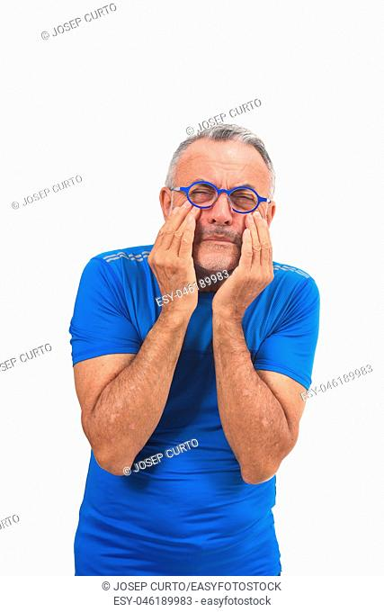 man with eyes on white background