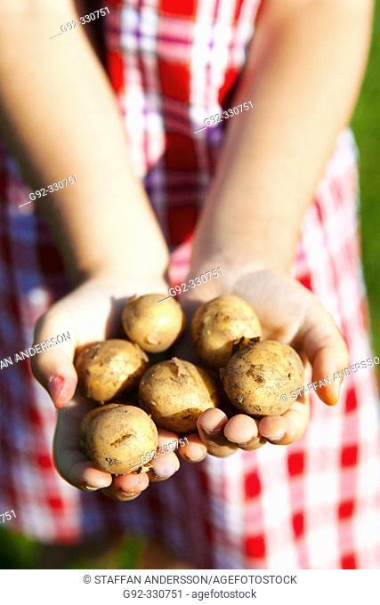 Girl holding vintage potatoes