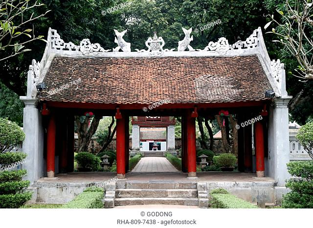 The Temple of Literature, a Confucian temple formerly a center of learning in Hanoi, Vietnam, Indochina, Southeast Asia, Asia