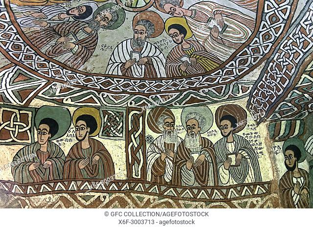 Coupola with Apostels, below left: Saint Mammas and Abib (Abba Bula), below right: the Saints Paul, Peter and Thomas, frescos in the orthodox rock-hewn church...