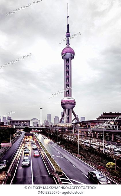 The Oriental Pearl TV and Radio Tower in Lujiazui, Pudong, Shanghai, China 2014