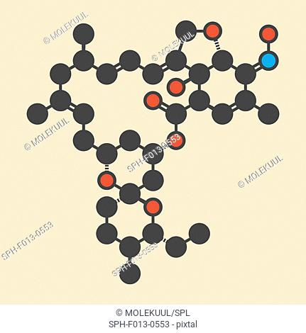 Milbemycin oxime antiparasitic drug molecule (veterinary). Stylized skeletal formula (chemical structure). Atoms are shown as color-coded circles: hydrogen...