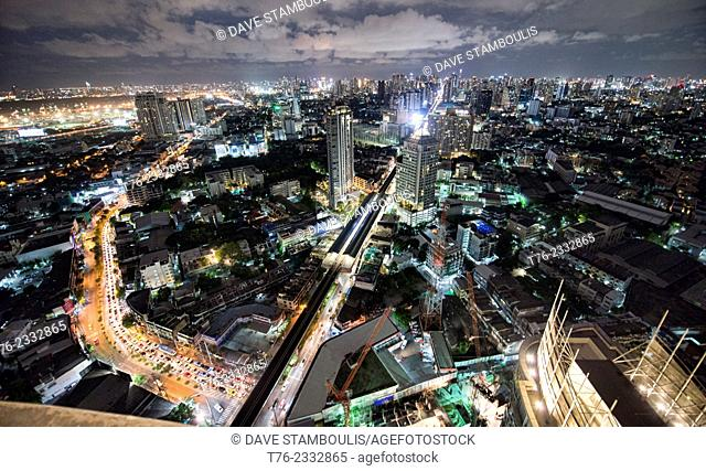 incredible city view from a rooftop bar in Bangkok, Thailand