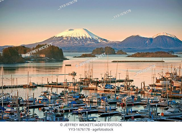 Sunrise over Thomsen Harbor in Alaska  The City and Borough of Sitka is a unified city-borough located on the west side of Baranof Island in the Alexander...