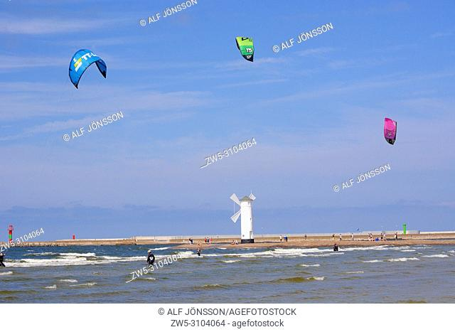 Kitesurfers in Swinoujscie, Poland, Europe