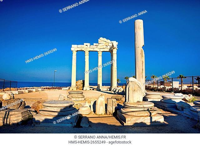 Turkey, Mediterranean Region, Antalya, Side, Temple of Apollo and Athina