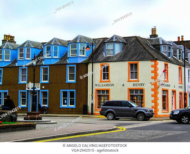 Colorful houses in Kirkcudbright, Dumfries and Galloway, Scotland, UK