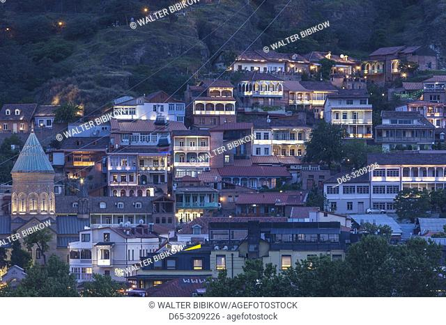 Georgia, Tbilisi, Old Town, high nagle view, dusk