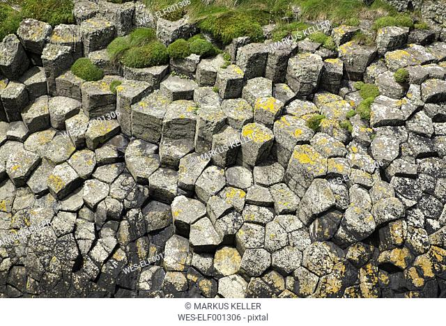 UK, Scotland, Argyll and Bute, hexagonal basalt columns on Staffa island
