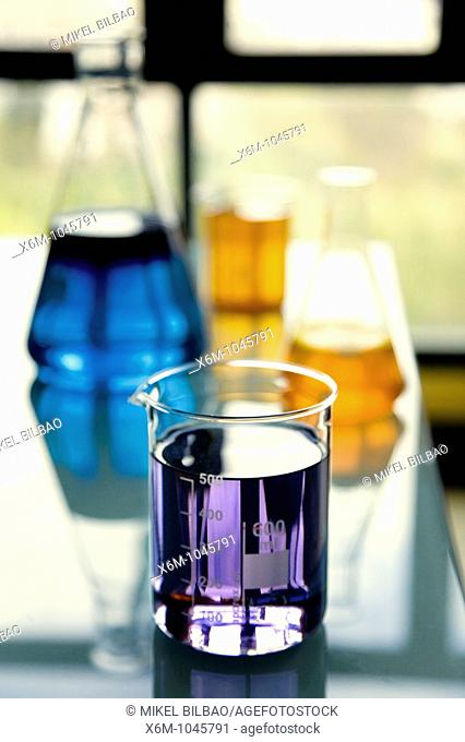 vase and flask in laboratory