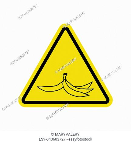 Attention garbage. Peel from banana on yellow triangle. Road sign Caution trash
