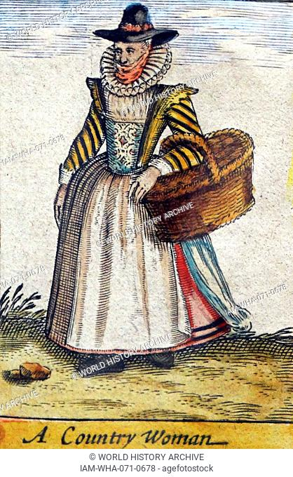 Tudor country woman with basket, (detail), from a map of England and wales by John Speed;C1612