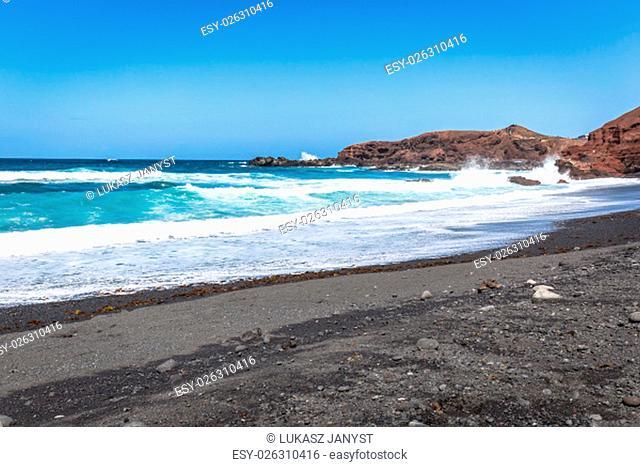 coast of famara beach,lanzarote island,canary islands,spain