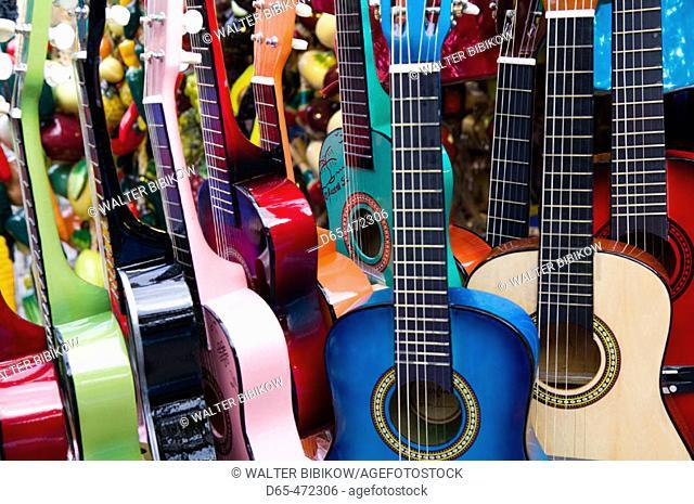 El Pueblo de Los Angeles. Historic Mexican Area. Olvera Street Market. Toy Guitars. Downtown. Los Angeles. California. USA