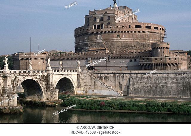 Bridge Ponte San Angelo and Castello di Angelo Rome Italy