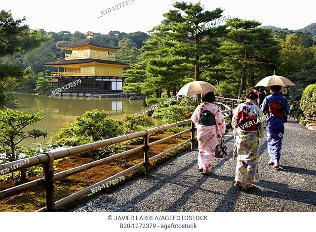 Japanese women with Kimono, Kinkakuji Temple, The Golden Pavilion, Rokuon-ji temple, Kyoto, Japan