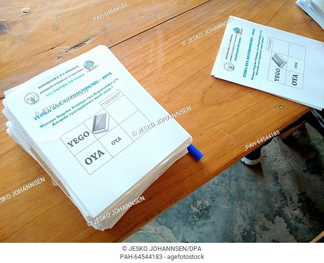 Ballots are on display on a table in an election office in Kigali, Rwanda, 18 December 2015. Rwandans are voting in a referendum to decide if President Paul...