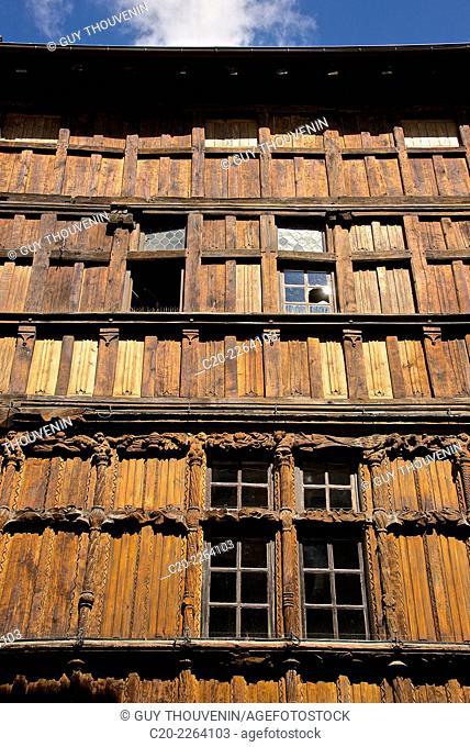 Wooden House, Renaissance time, Marché aux Herbes Square, Macon Saône et Loire, 71, Bourgogne, France