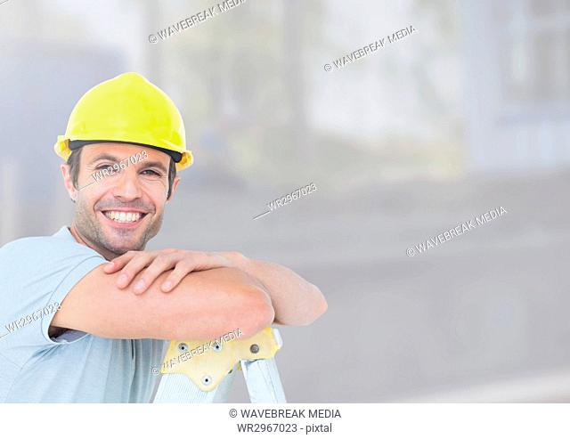 Construction Worker in front of construction site