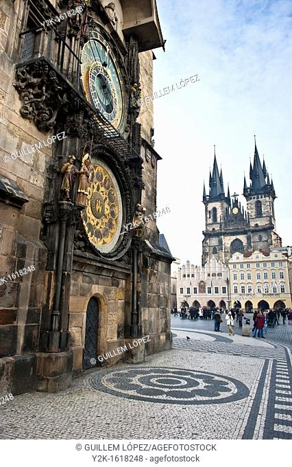 View of the Astronomical clock and Tyn church in the old town Square, Stare Mesto, Prague, Czech Republic