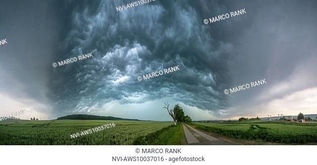 Panorama of the Whale's Mouth of an approaching thunderstorm on June 20th 2013 near Eisleben, District of Mansfeld-Südharz, Saxony-Anhalt, Germany
