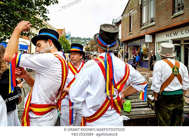 Mad Jack's Morris Side Wait To Perform In Lewes High Street During The Towns Annual Folk Festival, Lewes, Sussex, UK