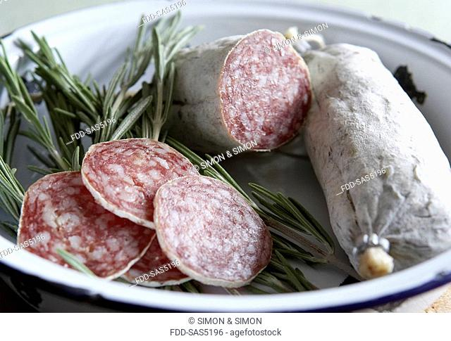 Italian cured sausage with rosemary