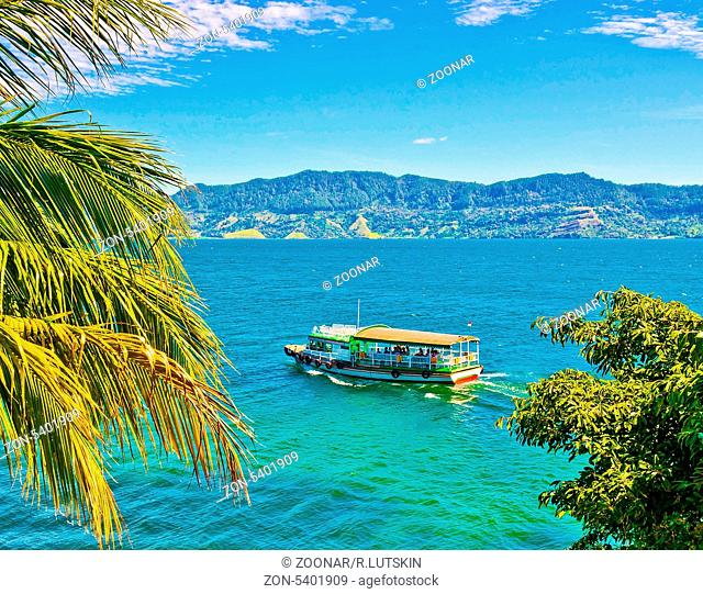 Boat on Lake Toba in Sumatra