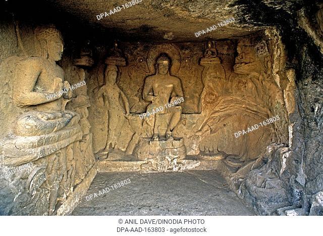 Buddha statues in cave temple hinyana pandav caves first century BC to second century AD ; Satavahana ; Nasik ; Maharashtra ; India