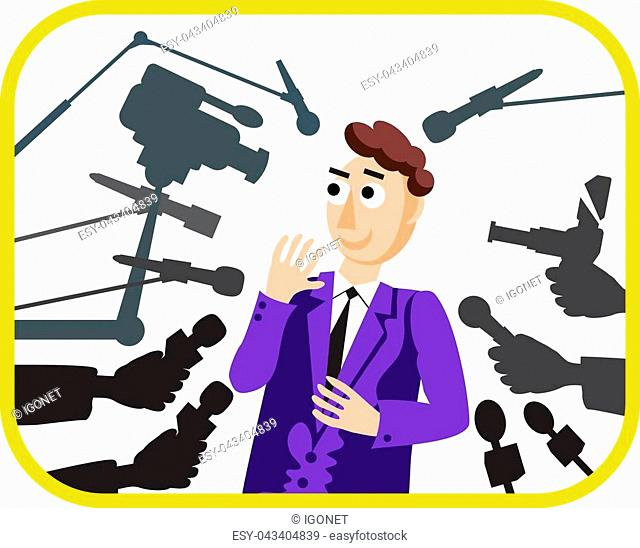 Interview. Vector illustration. Speaker man. Press conference. Hands with microphone. News. Live report, live news. Many hands of journalists with microphones...