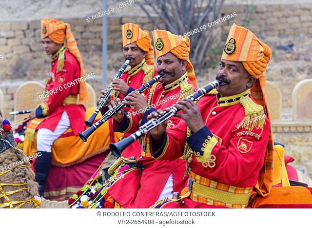 Musicians at the parade in the Desert Festival in Jaisalmer, Rajasthan, India