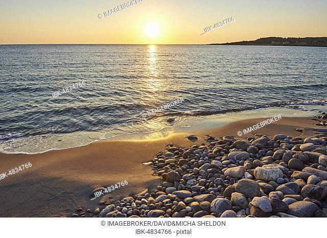 Beach at sunset, Agia, Thessaly, Crete, Greece, Crete, Greece, Europe