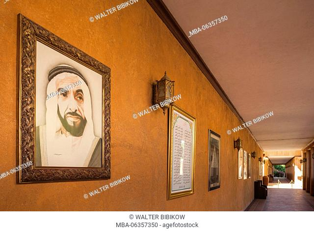 UAE, Al Ain, Sheikh Zayed Palace Museum, one time home of modern UAE founder Sheikh Zayed bin Sultan, portrait of the Sheikh